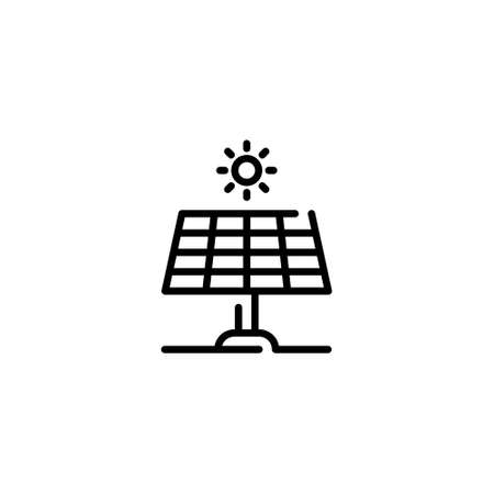 Vector solar panel icon. Renewable energy symbol illustration. Alternative electric system template. Linear technology sun battery concept