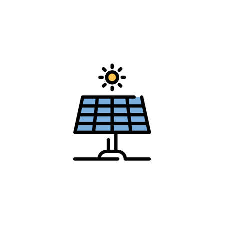 Vector solar panel icon. Line renewable energy symbol illustration. Modern technology sun battery concept. Alternative electric system template Иллюстрация