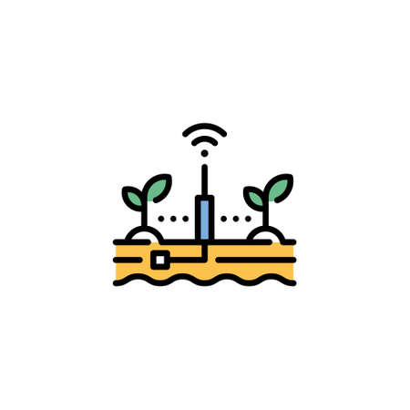 Vector smart farm soil icon. Line wireless monitoring system illustration. Modern technology agriculture concept. Plant and ground data analytics template