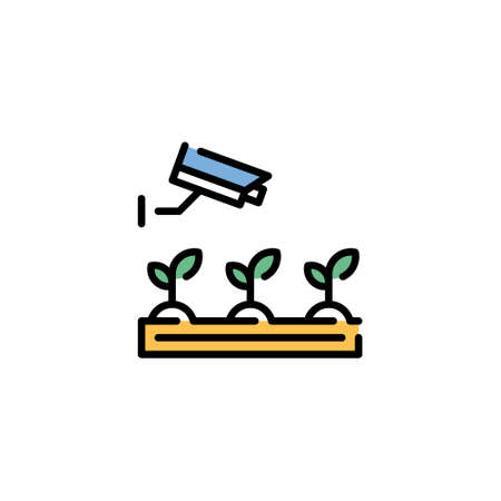Vector CCTV cam monitoring icon. Linear illustration of smart farming digital process. Simple agriculture technology management symbol. Wireless camera video control concept Иллюстрация