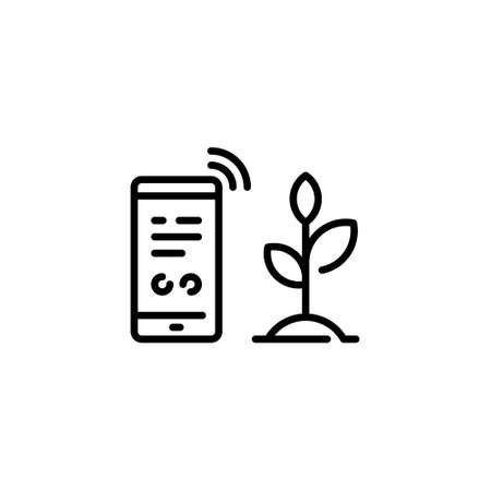 Vector smart farm phone icon. Wireless smartphone farmland management concept. Linear template of digital farming technology. Agriculture monitoring symbol illustration.