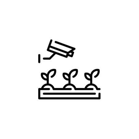 Vector CCTV cam monitoring icon. Outline illustration of smart farming digital process. Wireless camera video control concept. Agriculture technology management symbol Иллюстрация