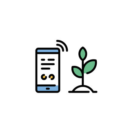 Vector smart farm phone icon. Outline template of digital farming technology. Modern agriculture monitoring symbol illustration. Wireless smartphone farmland management concept