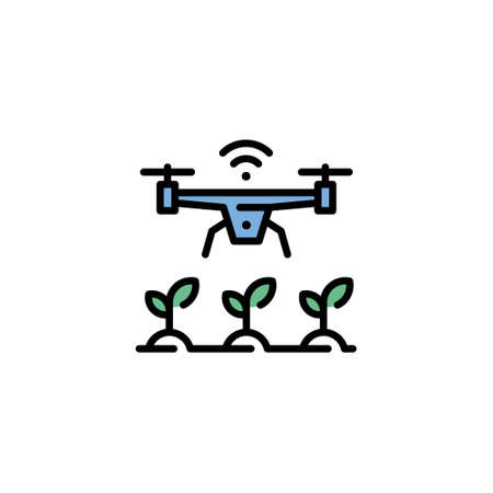 Vector agriculture drone icon. Outline template of digital farming technology. Modern agritech symbol illustration. Wireless smart farm management concept