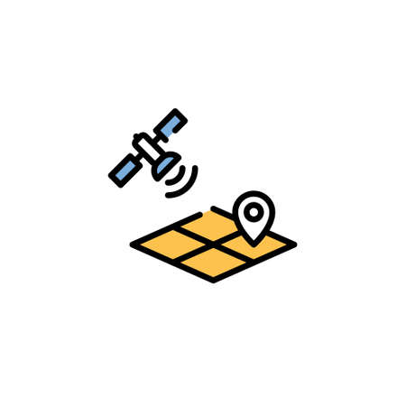 Vector satellite location icon. Linear template of digital farming technology. Modern agriculture map monitoring illustration. GPS technology farmland management concept Иллюстрация