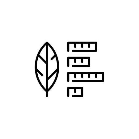 Vector leaf icon template. Outline illustration of smart farming control process. Modern plant research symbol. Technology farm monitoring concept Иллюстрация