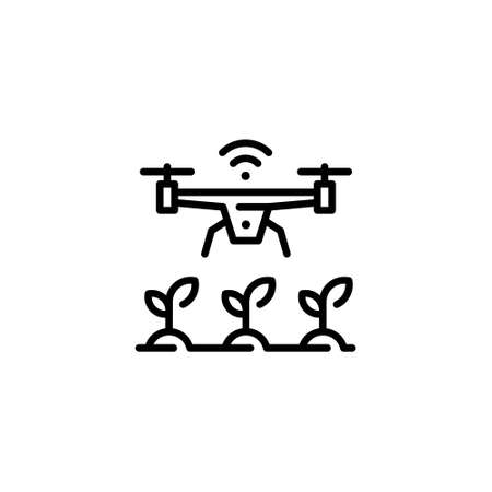 Vector agriculture drone icon. Flat agritech copter symbol illustration. Wireless smart farm management concept. Linear template of digital farming technology Иллюстрация