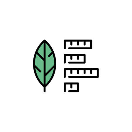 Vector leaf icon template. Line illustration of smart farming control process. Simple plant research symbol. Digital farm monitoring concept