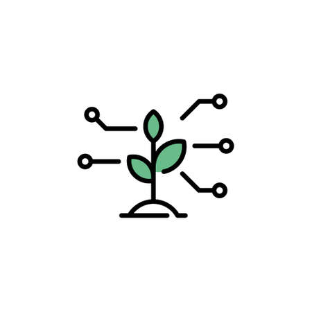 Vector sprout icon template. Linear illustration of smart farming control process. Modern plant research symbol. Technology farm monitoring concept