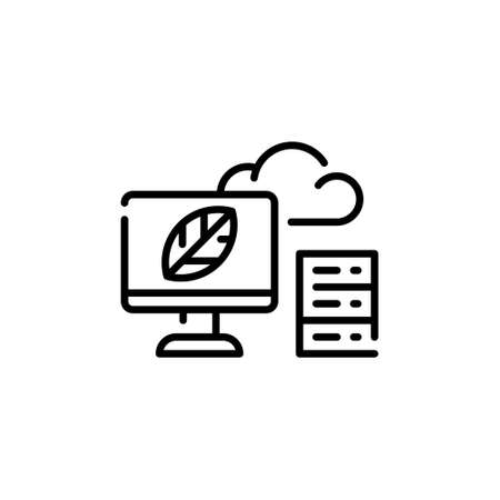 Vector cloud storage icon template. Agriculture data center symbol. Technology farm monitoring concept. Linear illustration of smart farming server