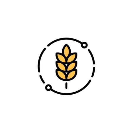 Vector farm wheat ears icon template. Outline whole grain symbol illustration. Gluten free design concept. Agriculture farm oat cycle sign Иллюстрация