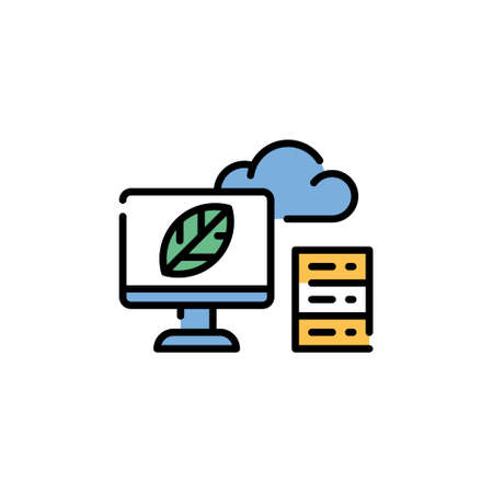 Vector cloud storage icon template. Line illustration of smart farming server. Simple data center symbol. Technology farm monitoring concept