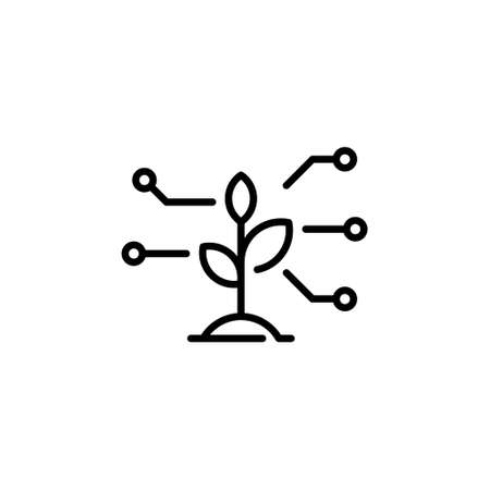 Vector sprout icon template. Simple plant research symbol. Outline illustration of smart farming control process. Technology farm monitoring concept