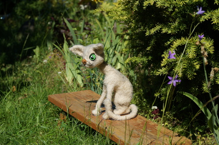 bright kitty sitting on a bench under a green Bush, a knitted toy hook.