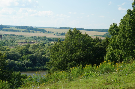 marge: Typical Russian country landscape, near Polenovo, Oka river Stock Photo
