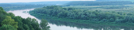 marge: beautiful views of the Oka river in Polenovo, summer landscape Stock Photo