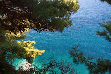 The view of the azure Adriatic sea,pine trees and rocky shore in a Popular diving spot and tourist attraction of Montenegro, in Petrovac Stock Photo