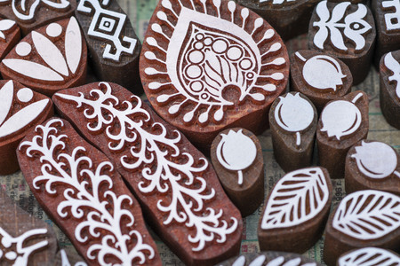carved wooden stamps of various designs