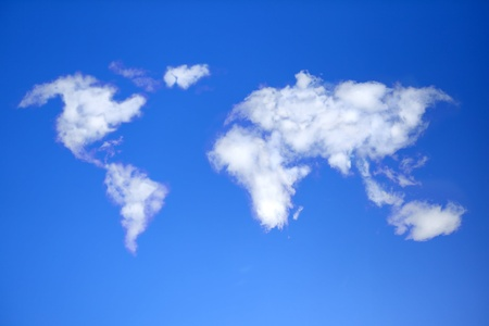 blue world map: Sky with clouds in shape of world map.  Stock Photo