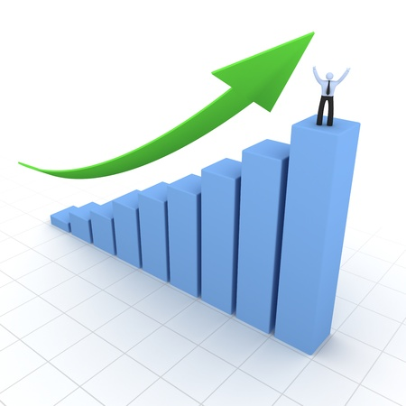 Graph moving up Stock Photo