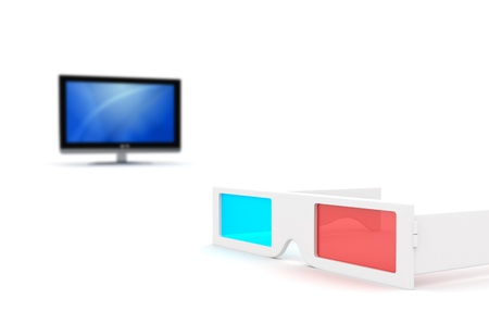 3-D Glasses and 3-D lcd monitor isolated on white Stock Photo - 11902425