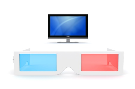 3-D Glasses and 3-D lcd monitor isolated on white Stock Photo
