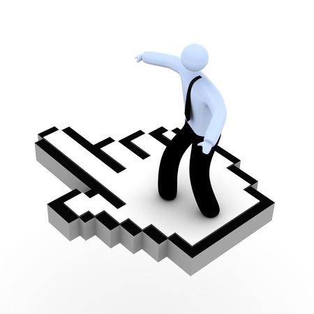 """curseur souris: L'homme sur le curseur de la souris, """"surfer sur le concept net. Banque d'images"""