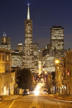 transamerica: Downtown San Francisco at night. Stock Photo