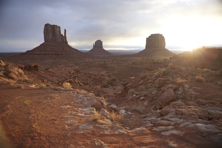 Sunrise in Monument Valley. Stock Photo
