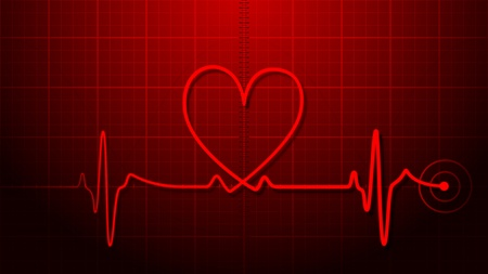 Heartbeat with heart shape