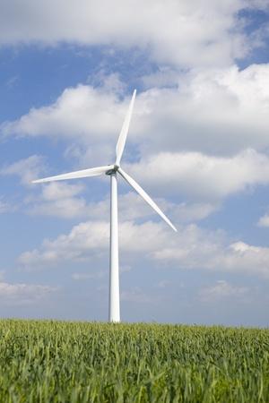Windmill in green field