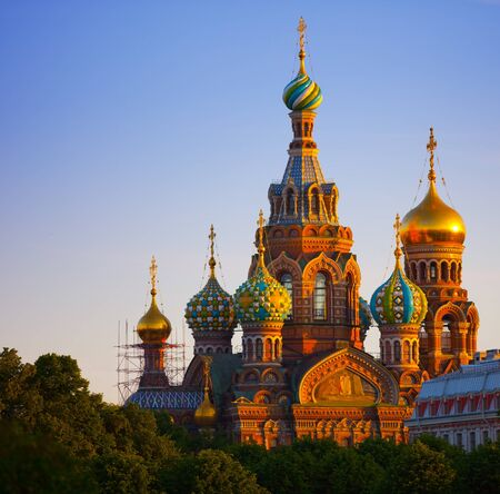 st petersburg: The Church of the Resurrection of Jesus Christ at St Petersburg in Russia also known as Savior-on-the-blood. Stock Photo
