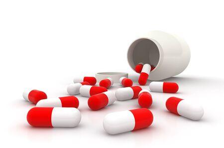 Pills spilling out of a prescription bottle. Stock Photo