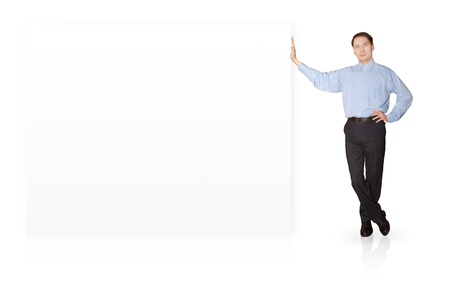 Businessman standing near blank signs. Stock Photo - 11902580