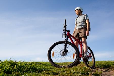Men on mountain bike. photo