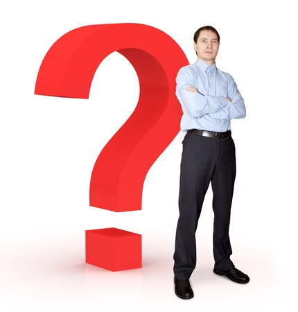 Businessman with question mark.