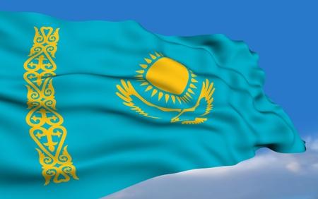 kazakh: Kazakh flag. Stock Photo