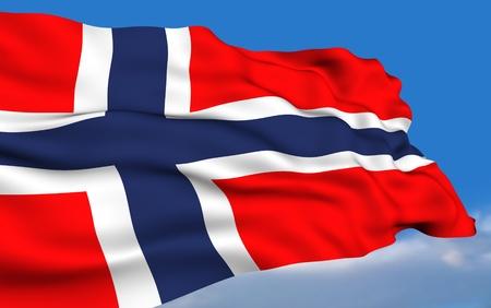 scandinavian peninsula: Norwegian Flag Stock Photo