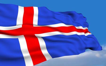 icelandic flag: Bandera de Islandia. Foto de archivo