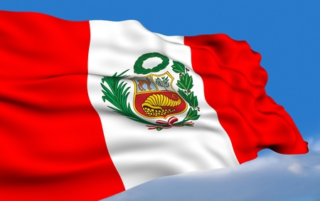 republic of peru: Peruvian Flag Stock Photo