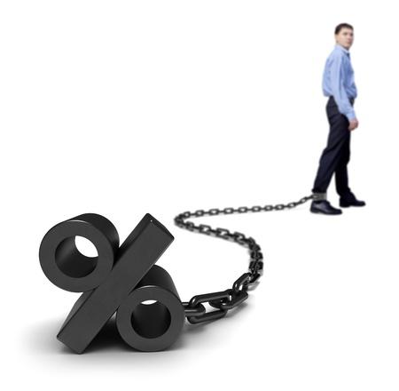 Businessman dragging a percentage sign