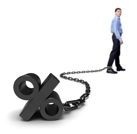 white interest rate: Businessman dragging a percentage sign