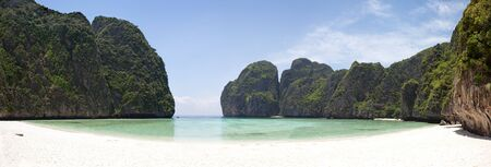 Panoramic of Maya bay, Phi Phi Le island, Thailand  photo