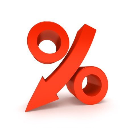 Percentage Sign Moving Down, Isolated On White