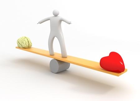 Heart vs Mind Standard-Bild