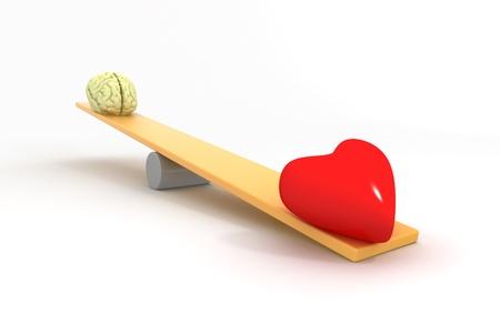 Heart vs Mind Stock Photo