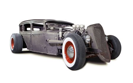 Old Rusty Rat Rod isolated on white Foto de archivo
