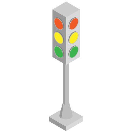 Vector isometric illustration of street traffic lights for traffic control Illustration