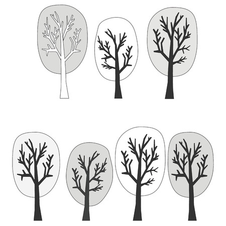 Vector black and white illustration of winter trees
