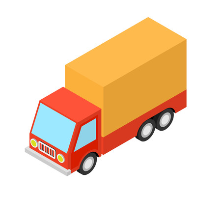 Vector isometric illustration of a truck with a tent